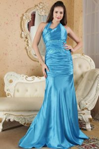 Elastic Woven Satin Blue Paillette Ruched Prom formal Dresses