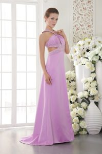 2013 Lavender Beaded Crisscross Back Prom Dress Sweep Train