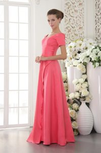 Scoop Short Sleeves Beaded Coral Red Prom Celebrity Dress