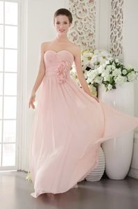 Best Pink Empire Sweetheart Prom Dress for Girls with Flowers