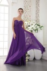 Pretty Chiffon Purple Sweetheart Beaded Prom Bridesmaid Dress