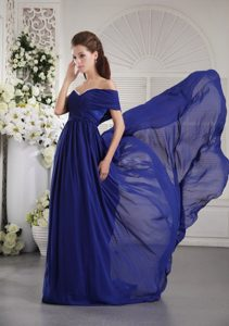One Shoulder Brush Train Blue Ruched Prom Dress for Autumn