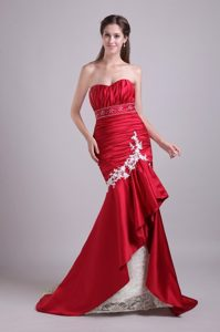 Mermaid Sweetheart Brush Train Ruched Red Prom formal Dress
