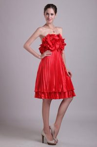 Popular Empire Knee-length Pleated Red Prom Dress Shropshire