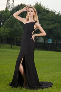 Affordable Black One Shoulder Slitted Prom Party Dress Rutland