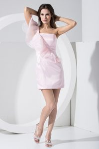 One Shoulder Sheath Ruffles Mini-length Taffeta Prom Dress in Pink