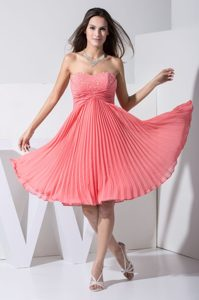 Watermelon Beaded Sweetheart Prom Dress with Pleat and Ruche