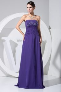 Low Price Column Strapless Purple Prom Dress with Beading