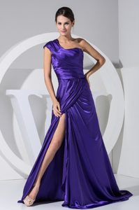 New Purple One Shoulder Ruched Slitted Dress for Prom Queen