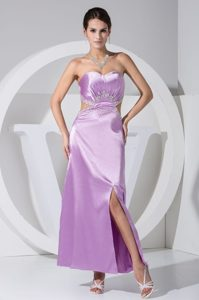 Sweetheart Beaded Slitted Lavender Dress for Prom with Cutouts