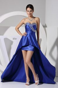 Fabulous Beaded Ruched Royal Blue High-low Prom Dresses