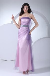 Column Ankle-length Prom Gown Dress with Silver Sash in Lilac