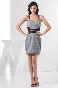 Plaid Grey Mini-length Prom Dress for Girls with Spaghetti Straps