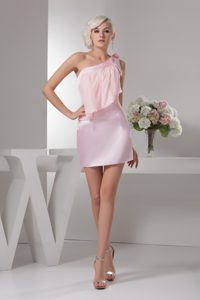 Beading One Shoulder Mini-length Ruche Prom Dress in Baby Pink