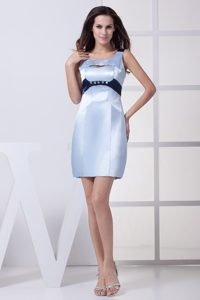 Scoop Light Blue Beaded Mini-length Satin Prom Gowns with Cutout
