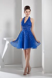 Halter Blue Mini-length Junior Prom Dress with beading and Organza Layers
