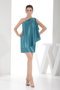 Unique Beaded One Shoulder Mini-length Taffeta Prom Dress in Teal