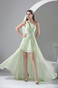 Beaded One Shoulder Apple Green Prom Dresses in High Low Style