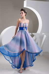 Colorful Printing Sweetheart A-line High Low Prom with Beaded Belt