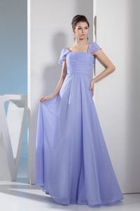 Lilac Square Neck Cap Sleeves Ruched Prom Dress in Norfolk