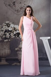 Pink Column Floor-length Prom Dress with Venetian Pearl and One Shoulder