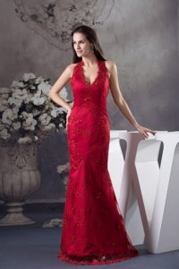 Traditional Sheath Halter top Embroidery Red Prom Celebrity Dress