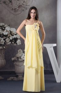 Empire Straps Yellow Floor-length Chiffon Prom Dress with Hand Flowers