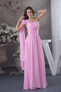 Soft and Feminine Pink One Shoulder Ruched Prom Gown Dress