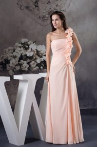 Exquisite One Shoulder Handmade Flowers Pink Prom Dress