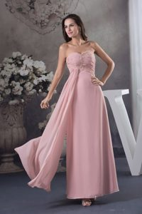 Sweetheart Pink Floor-length Column Prom Dress with Ruche and Beading