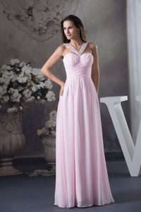 Beading V-neck Pink Floor-length Ruching Prom Dress in Toowoomba