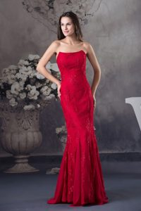 Mermaid Strapless Embroidery Red Dresses for Prom Princess
