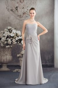 Spring Grey Chiffon Beaded Strapless Empire Prom Dress With Brush