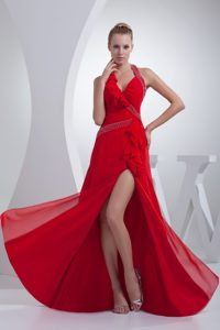 Brand New Halter top Beaded Slitted Red Prom Dress for Women