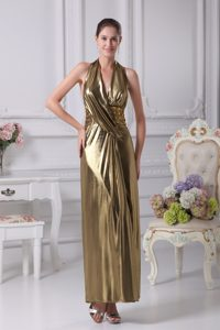 Gold Halter Top Empire Beading Ankle-length Prom Dress in Backless