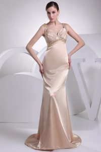 Champagne Beading and Ruche Straps Column Prom Dress with Brush Train