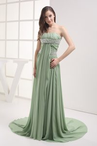 Green Empire Chiffon Beaded Ruched Dress for Prom Lincolnshire