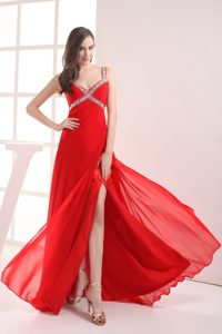 Outstanding Straps Beaded Slitted Red Senior Prom with Straps