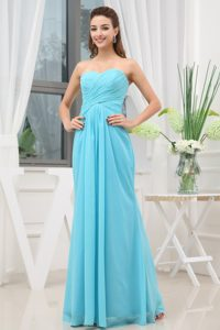 Brand New Chiffon Aqua Blue Ruched Prom Dress under 150