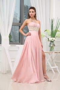 Sweetheart Beaded Slitted Baby Pink Prom Dress in Lancashire