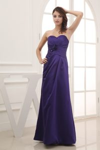 Purple Sweetheart Ankle-length Bridesmaid Dress with Hand Flowers