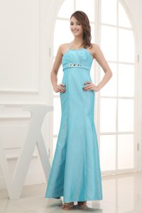 Spaghetti Straps Beading Ankle-length Prom Dress in Aqua Blue