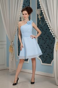 One Shoulder A-line Chiffon Baby Blue Prom Dress with Hand Flowers
