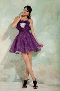 Organza Puffy Dark Purple Prom Cocktail Party Dresses Online