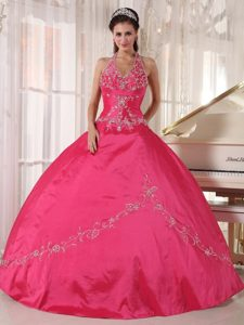 Halter Red Ball Gown Taffeta Floor-length Quinceanera Dress with Appliques