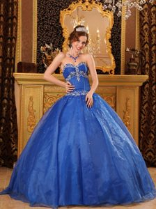 Appliques Blue Ball Gown Sweetheart Floor-length Quinces Dresses