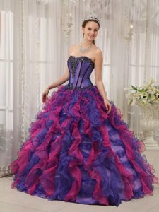 Sweetheart Appliques Multi-colored Sweet Sixteen Quinceanera Dresses