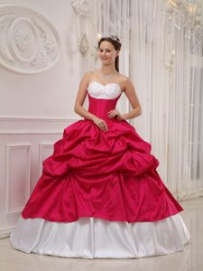Sweetheart Beading and Pick-ups Quinceanera Dress in Hot Pink and White