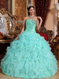 Apple Green Sweetheart Quinceanera Dress with Beading and Ruffles