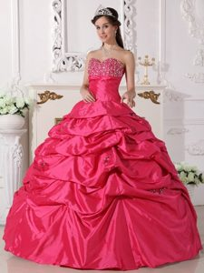 Beading Sweetheart Ball Gown Taffeta Quinceanera Dress in Coral Red